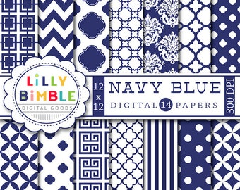 Navy Blue digital scrapbook paper for monogramming, crafts blue and white scrapbooking papers, printable download, damask, chevron