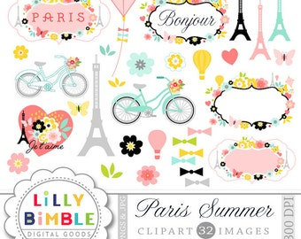 60% off Paris Clipart with the Eiffel tower, travel, romantic, Modern Scrapbook, labels, frame, flowers, bicycle, French Instant Download