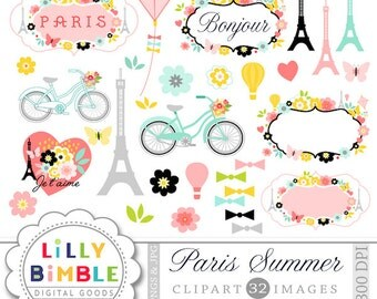 40% off Paris Clipart with the Eiffel tower, travel, romantic, Modern Scrapbook, labels, frame, flowers, bicycle, French Instant Download