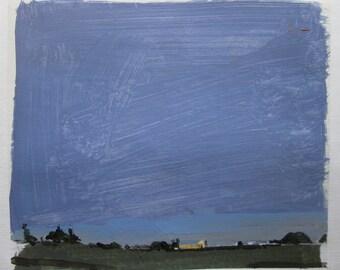 Last Light on 10, Original Summer Landscape Collage Painting on Paper, Stooshinoff