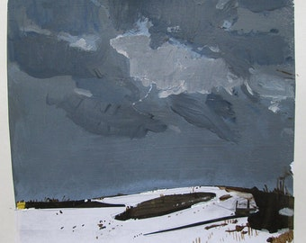 Hillock, January 8, Original Landscape Collage Painting on Paper, Stooshinoff