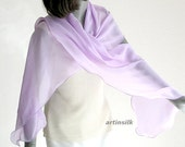 Lilac Mauve Wrap, Lavender Orchid Shawl, Light Orchid Wrap, Sheer Lavender Scarf, Silk Chiffon, Hand  Dyed, One of a Kind.