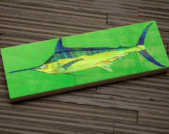 "Fish Gifts- Medium Saltwater Fish Art Block- Blue Marlin Print- 9""x3"" Fish Wall Decor Fisherman Gift for Husband Gift- Beach House Decor"