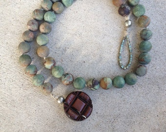 peruvian opal necklace, green and brown, button closure