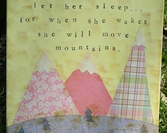 Let Her Sleep Move Mountains Shakespeare Woodland Nursery Art Decor Camping Rustic Painting Folk Custom Girl Children's Room Pink Yellow