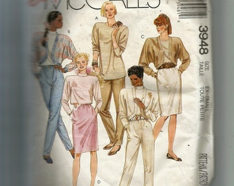 McCall's Misses' Jacket, Top,  and Skirt For Stretch Knits Only Pattern 3948