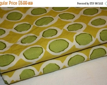 30% OFF SUPER SALE- Sea Monster Fabric-Reclaimed Bed Linen Fabric-Green and Yellow