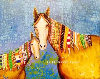 Brown Doodle Horses Fine Art Print Horse Art by Carol Iyer