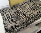 New York Brownstones Vintage Scarf / Black and White Houses / Facades