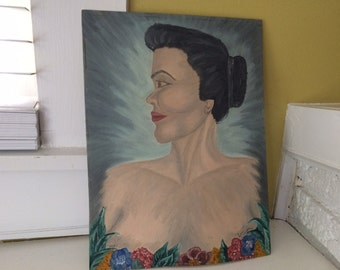 1957 Original Oil Painting / Portrait / Silhouette Bust / Profile of a Woman