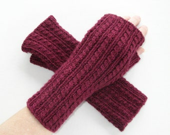 Fingerless Gloves Burgundy Cashmere and Wool Blend Cables
