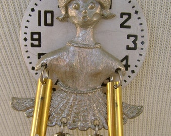 Writer's Block - Antique Pocket Watch Dial Girl Pin Vintage Pen Nibs Rhinestone Balls Recycled Repurposed Assemblage Jewelry Necklace