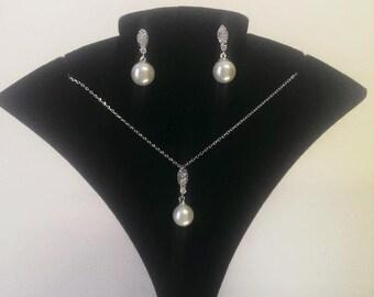 Pearl Pavé Pendant & Earrings Set, Rochelle