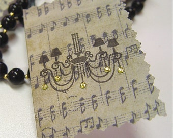 4 Gift tags, hang tags, folded gift cards, chandelier, gems, music, black, gift wrap