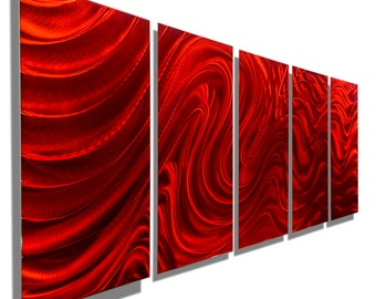 Red Abstract Metal Wall Decor, Large Contemporary Metal Wall Art, Decorative Modern Wall Sculpture - Red Hypnotic Sands 5P by Jon allen