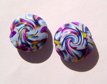 Colorful Lentil Handmade Artisan Polymer Clay Beads Pair