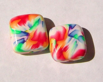 Painted Watercolor Unique Colorful Rainbow Handmade Artisan Polymer Clay Beads Pair