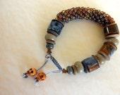 Bangle Bracelet Half-Off Sale Skull Slide Combo Bead Crochet and Strung (olivine/golden brown)