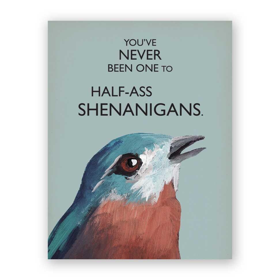 shenanigans mincing bird stationery card mockingbird greeting humor cards collection