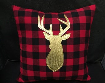 Metallic gold deer on buffalo check fabric - hand appliqued - deer pillow