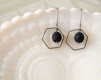 brass hex earrings with matte black faceted bead detail - simple modern