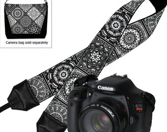Padded Camera Strap DSLR Camera Strap Canon Camera Strap Nikon, Sony, etc,  SLR Neck Strap , black white gray, boho bohemian, tribal MTO