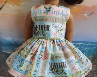 18 Inch Doll Clothes Dress Hydrangea Passion Words of Wisdom Medley