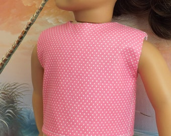 18 Inch Doll Clothes Medium Pink Pin Dot Modified Crop Top NEW Style