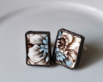 Broken China Cuff Links - Brown and Blue Transferware