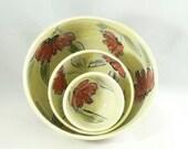 Set of 3 Nesting Bowls in Poppy Flower Design, Kitchen Serving Bowls, Stacking Bowls