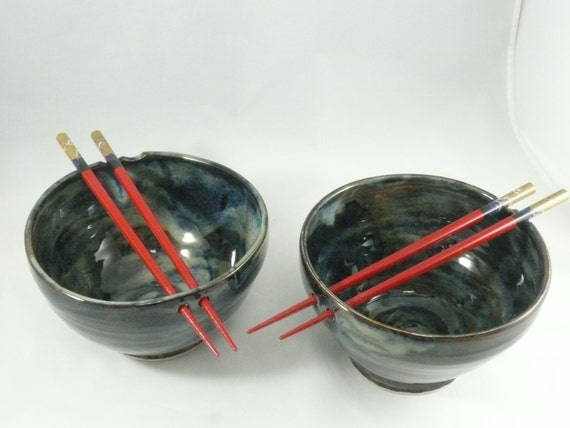Ceramic Noodle Bowl, Rice Bowl with Chopsticks, chopstick bowls, Pho Bowl, Asian Decor, Thai Food Dish, Foodie Gifts, Gift for Him