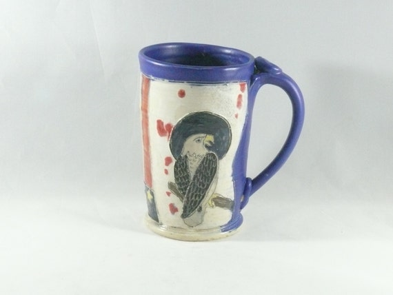 All American Ceramic Unique Coffee Mug with Eagle and Flag Stars Stripes - Teacup or Pottery Coffee Cup - Beer Tankard - Stein WM310