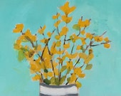 original painting, flower painting, yellow flowers, turquoise and yellow, wall art,