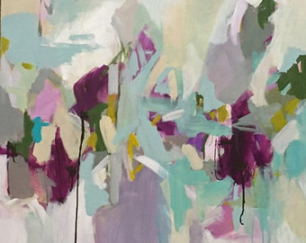 large abstract acrylic painting, pamela munger, contemporary art, modern art, turquoise abstract purple and green art grey and white art