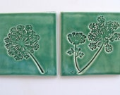 Ceramic Coasters, Set of Two, 100% Handmade, Queen Anne's Lace