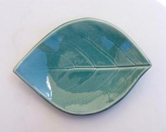 Hand Built Leaf Plate, Persimmon Leaf, Robins Egg Blue