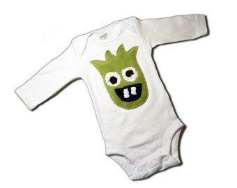 MONSTER BODYSUIT - Zeus the Monster - Long Sleeve White Bodysuit - Also Available in Short Sleeves - Or on a Colorful Lap Tee or Toddler Tee