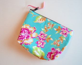 Aqua Floral Zipper Pouch - Cosmetic Make up Bag - Aqua Pink Floral