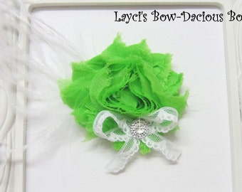 Green {Ellie} Flower Hair Clip, flower clip, shabby flower, green flower, more colors available