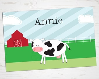 Children's Placemat - Cow Placemat - Personalized with Child's Name - Custom Placemat - Farm Placemat