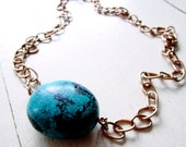Turquoise - Wilma Flintstone ABACUS - Ladder Necklace - Statement - Necklace - Vintage Copper Chain - Etsy Jewelry - catROCKS - Nugget