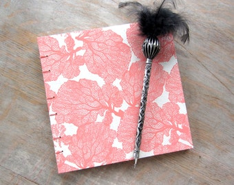 7x7 Guest Book, Peaches and Cream, unlined torn pages, Ready to Ship