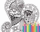 Coloring pages - Zen style - Doodle heart