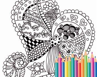 Coloring pages - Zen style - Doodle heart