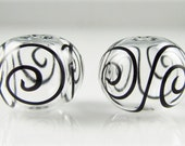 Clear with Fine Black Scroll Hollow Lampwork Glass Bead Pairs