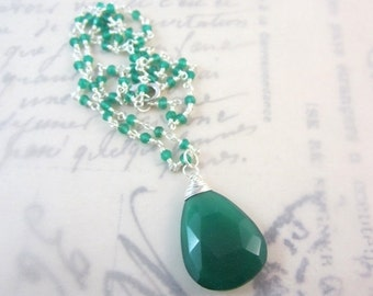 25% SALE Emerald Green Onyx Necklace. Wire Wrapped. Sterling Silver. Large Pear Shape Pendant, Under 50. Gifts for Her.