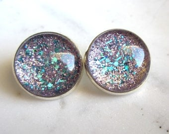 Sparkle Clip On Earrings. Light Purple and Teal Clip On Earrings. Silver Bezel Set Clip Ons.