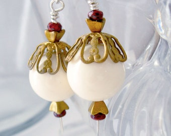 Royal Earrings Capped Cream Blush Balls, Garnet Glass, Brass Filigree Caps, Czech Glass Metallic Gold Tulips, Boho Jewelry, Career Jewelry