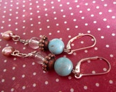 Dangle earrings with turquoise and pearl drops, antique bronze beads