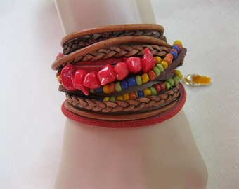 Boho Leather Bead and Coral Wrap Bracelet and Necklace, Multi Strands of Leather and beads in shades of Natural  browns and multicolor beads